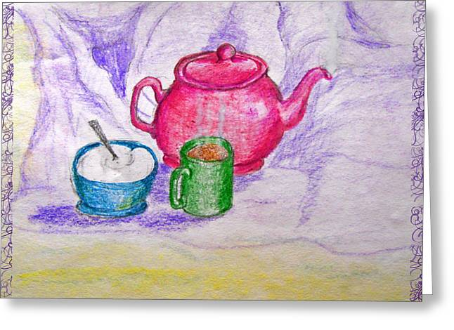 Colorful Coffee Greeting Card by Debbie Portwood