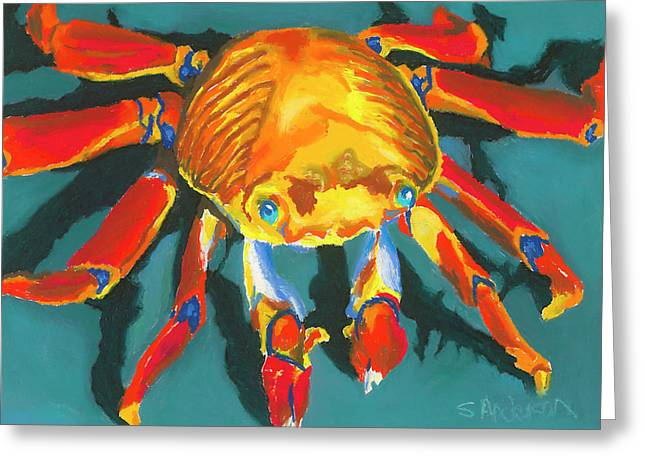 Food Pastels Greeting Cards - Colorful Crab II Greeting Card by Stephen Anderson