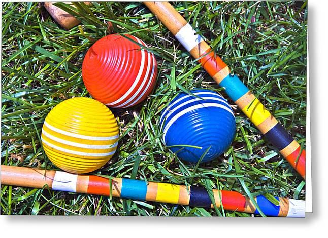 Susan Leggett Greeting Cards - Colorful Croquet Balls Greeting Card by Susan Leggett