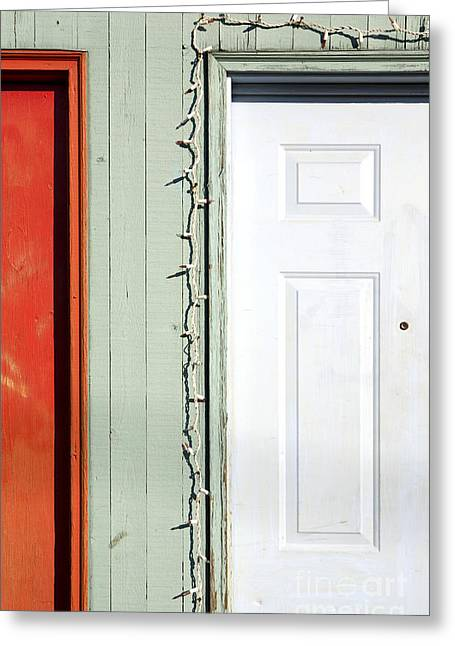 Peepholes Greeting Cards - Colorful Doorways With Holiday Lights Greeting Card by Paul Edmondson