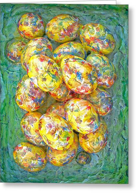 Green And Yellow Abstract Sculptures Greeting Cards - Colorful Eggs Greeting Card by Carl Deaville