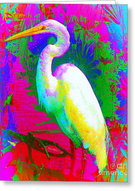 Colorful Egret Greeting Card by Doris Wood