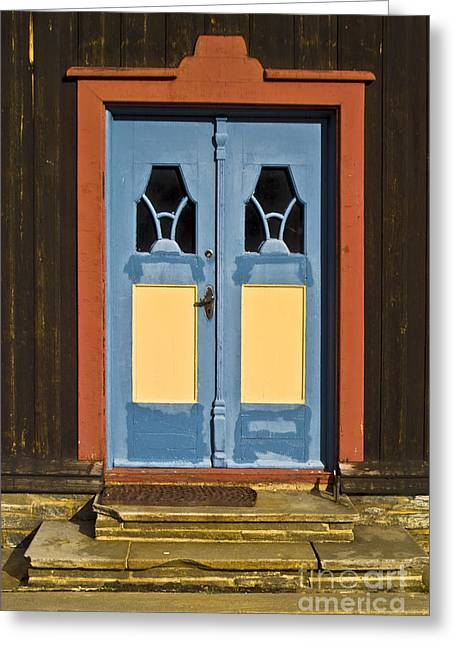 Wooden Antique Building Greeting Cards - Colorful Entrance Greeting Card by Heiko Koehrer-Wagner