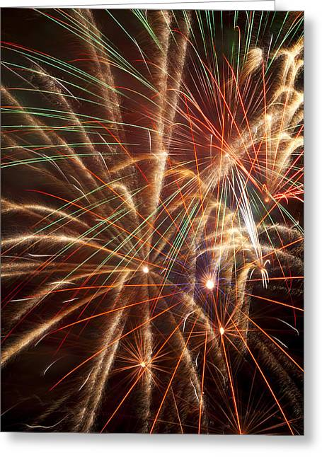 Pyrotechnics Greeting Cards - Colorful Fireworks Greeting Card by Garry Gay