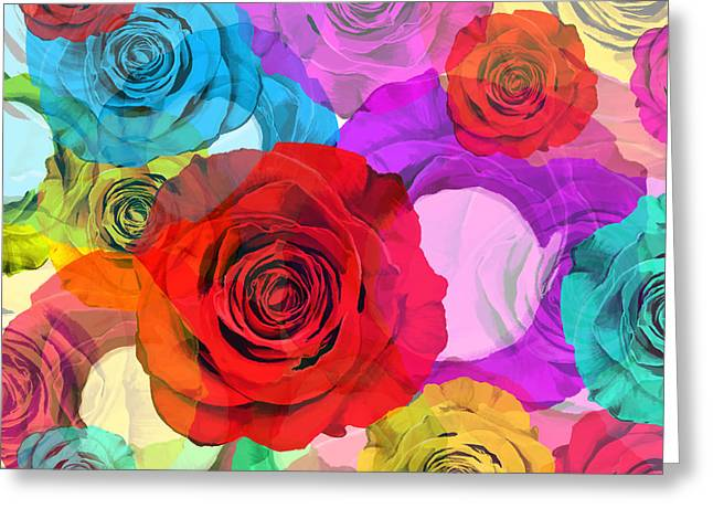 Abstract Rose Abstract Greeting Cards - Colorful Floral Design  Greeting Card by Setsiri Silapasuwanchai