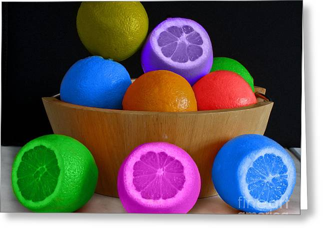 Tracy Hall Greeting Cards - Colorful Fruit Bowl Greeting Card by Tracy  Hall