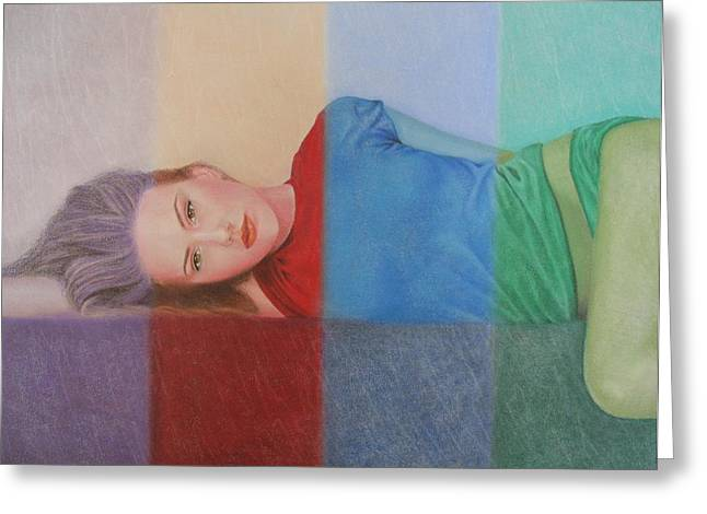 Surreal Geometric Pastels Greeting Cards - Colorful Girl Greeting Card by Lynet McDonald