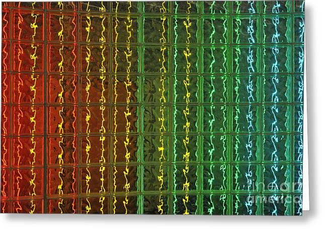 Surrounding Wall Greeting Cards - Colorful glass brick wall Greeting Card by Sami Sarkis