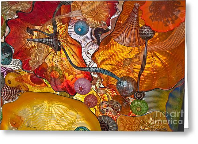 """glass Museum"" Greeting Cards - Colorful Glass Still Life Greeting Card by Valerie Garner"