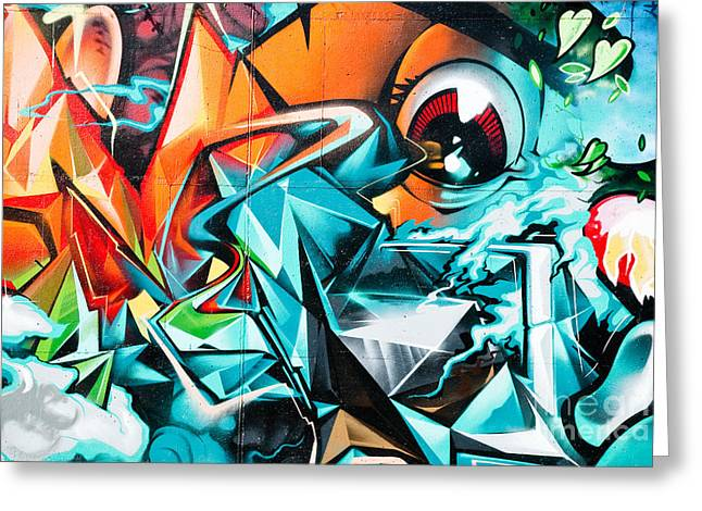 Aerosol Paintings Greeting Cards - Colorful Graffiti Fragment Greeting Card by Yurix Sardinelly