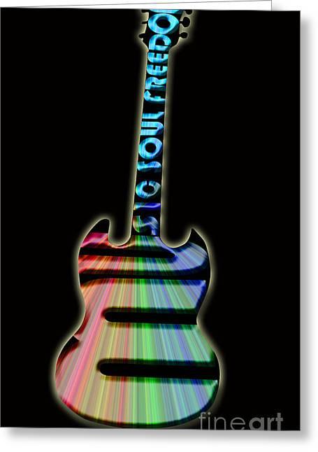 Intruments Greeting Cards - Colorful Guitar Greeting Card by Lj Lambert