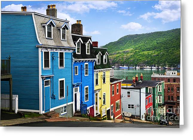 Primary Greeting Cards - Colorful houses in St. Johns Greeting Card by Elena Elisseeva