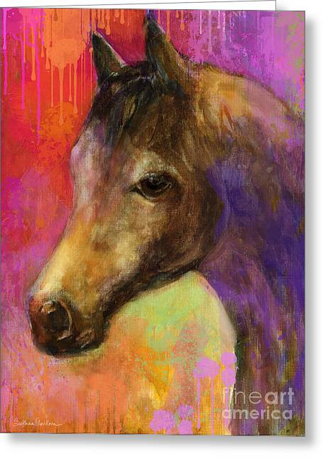 Contemporary Horse Greeting Cards - Colorful impressionistic pensive horse painting print Greeting Card by Svetlana Novikova