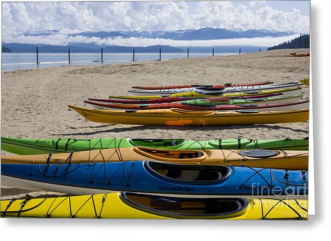 Lake Pend Oreille Greeting Cards - Colorful Kayaks Greeting Card by Idaho Scenic Images Linda Lantzy