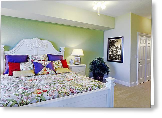 Modern Photographs Greeting Cards - Colorful King Size Bed Greeting Card by Skip Nall