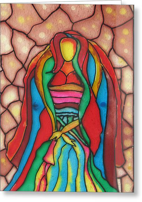 Lady Glass Greeting Cards - Colorful Lady Greeting Card by Ghosh Bose
