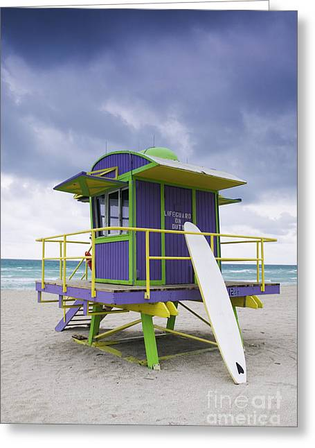 Sea Platform Greeting Cards - Colorful Lifeguard Station and Surfboard Greeting Card by Jeremy Woodhouse