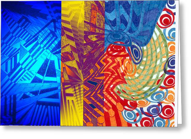 Geometric Artwork Greeting Cards - Colorful Light Greeting Card by B and C Art Shop