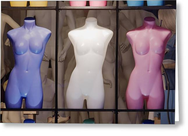Display Case Greeting Cards - Colorful Mannequins in Store Window Greeting Card by Jeremy Woodhouse