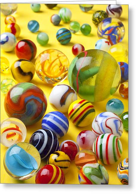 Amusements Greeting Cards - Colorful marbles Greeting Card by Garry Gay