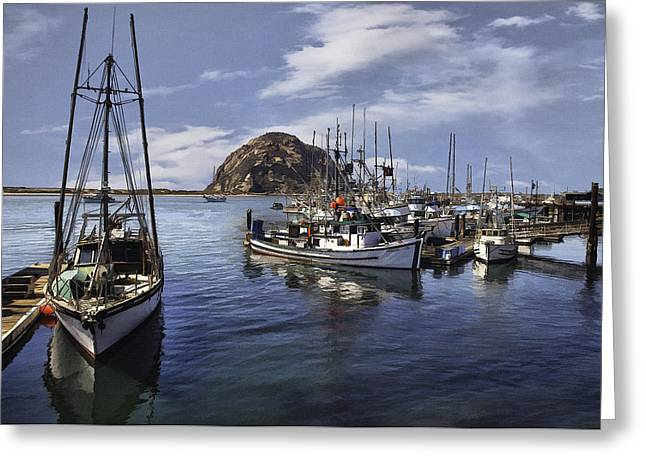 Morro Bay Harbor Greeting Cards - Colorful Morro Harbor Greeting Card by Sharon Foster