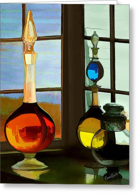 Suni Roveto Greeting Cards - Colorful Old Bottles Greeting Card by Suni Roveto