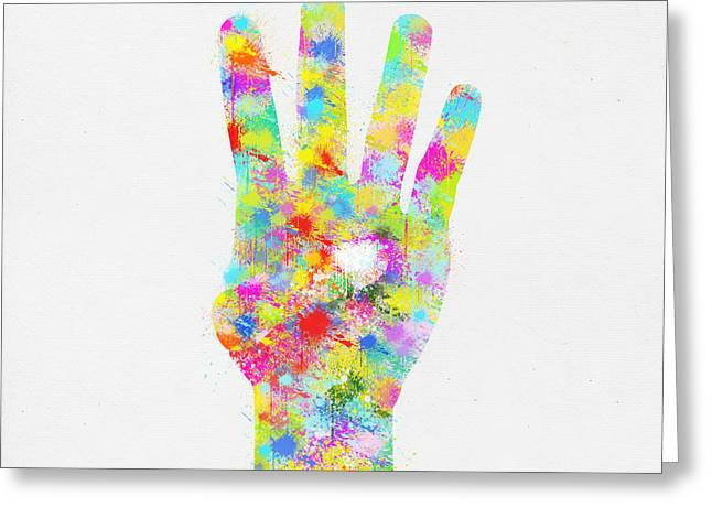 Drop Greeting Cards - Colorful Painting Of Hand Pointing Four Finger Greeting Card by Setsiri Silapasuwanchai