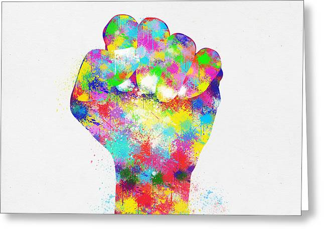 Fist Greeting Cards - Colorful Painting Of Hand Greeting Card by Setsiri Silapasuwanchai