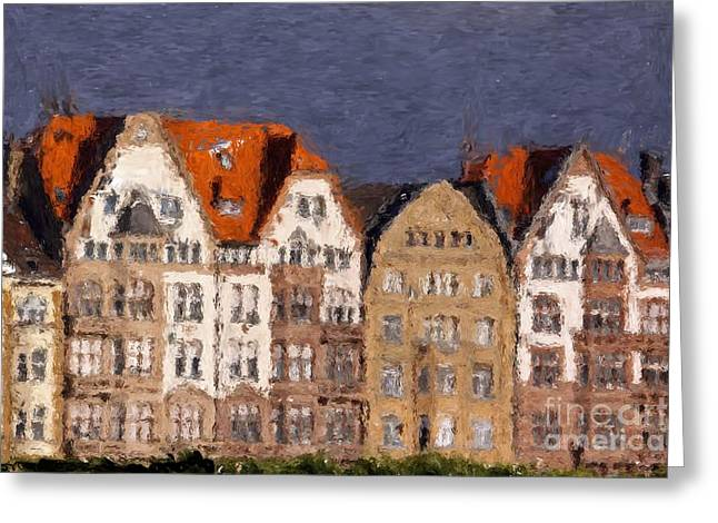 Decorativ Digital Art Greeting Cards - Colorful panorama city abstracly Greeting Card by Claudia Otte