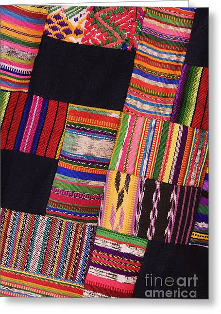 Patch Quilts Greeting Cards - Colorful Patch Fabric Greeting Card by Jeremy Woodhouse