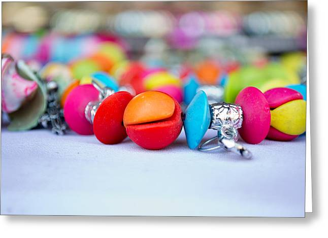 Diamond Bracelet Photographs Greeting Cards - Colorful pearls Greeting Card by Ankit Sharma