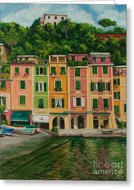 Portofino Italy Art Greeting Cards - Colorful Portofino Greeting Card by Charlotte Blanchard