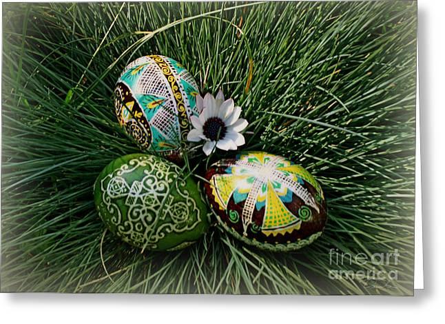 Ukrainian Prints Greeting Cards - Colorful Pysanky Greeting Card by Danuta Bennett