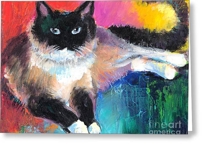 Cat Drawings Greeting Cards - Colorful Ragdoll Cat painting Greeting Card by Svetlana Novikova