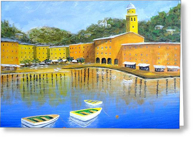 Colorful Reflections Of Portofino Greeting Card by Larry Cirigliano