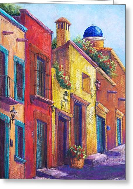 Streets Pastels Greeting Cards - Colorful San Miguel Greeting Card by Candy Mayer