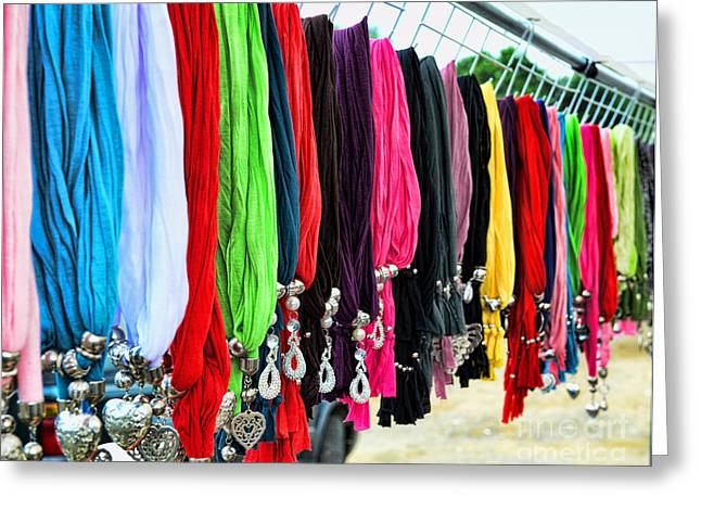 Silk Scarf Greeting Cards - Colorful Scarfs Greeting Card by Paul Ward