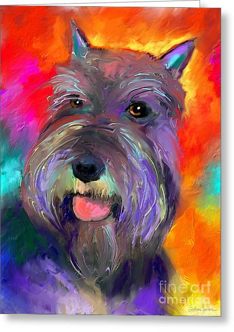 Impressionistic Poster Greeting Cards - Colorful Schnauzer dog portrait print Greeting Card by Svetlana Novikova