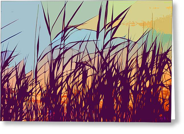 Digital Art Greeting Cards - Colorful Seagrass Greeting Card by Michelle Wiarda