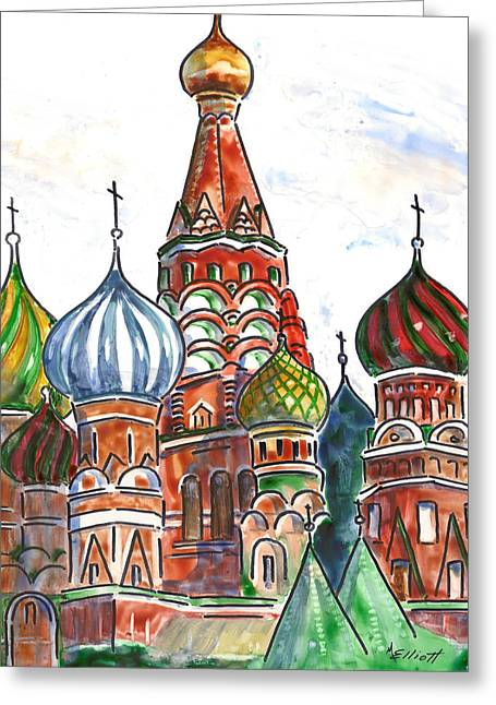 St Basils Greeting Cards - Colorful Shapes in a Red Square Greeting Card by Marsha Elliott