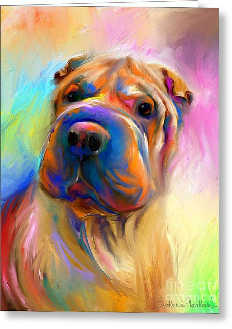Puppies Greeting Cards - Colorful Shar Pei Dog portrait painting  Greeting Card by Svetlana Novikova