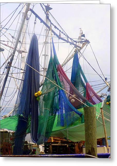 Colorful Shrimp Boat Nets Greeting Card by Carla Parris
