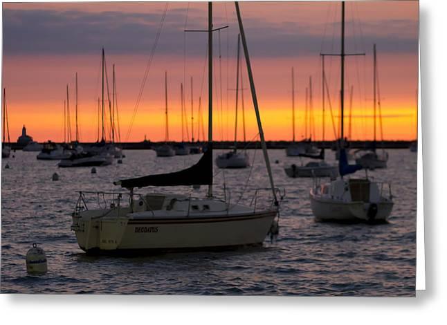 Lake Michgan Greeting Cards - Colorful Skies At This Harbor Greeting Card by Sven Brogren
