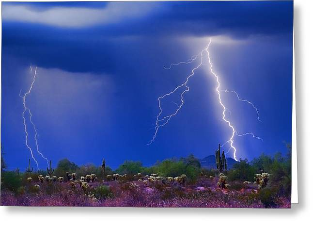 Arizona Lightning Greeting Cards - Colorful Sonoran Desert Storm Greeting Card by James BO  Insogna
