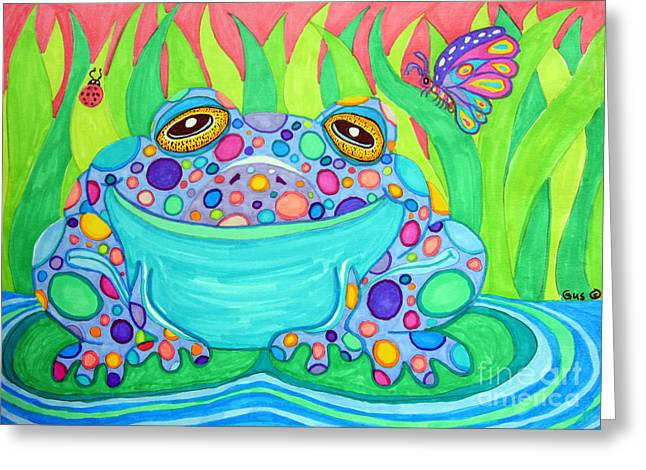 Spot Drawings Greeting Cards - Colorful Spotted Frog Greeting Card by Nick Gustafson