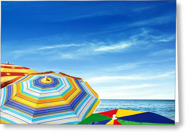 Colorful Sunshades Greeting Card by Carlos Caetano