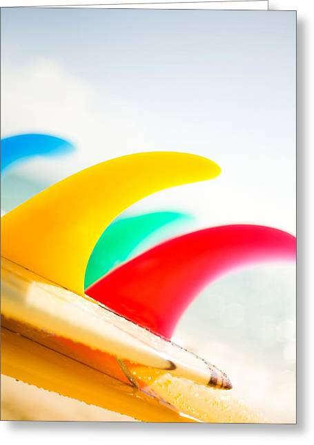 Surfing Art Greeting Cards - Colorful Surfboard Fins Greeting Card by Dana Edmunds - Printscapes
