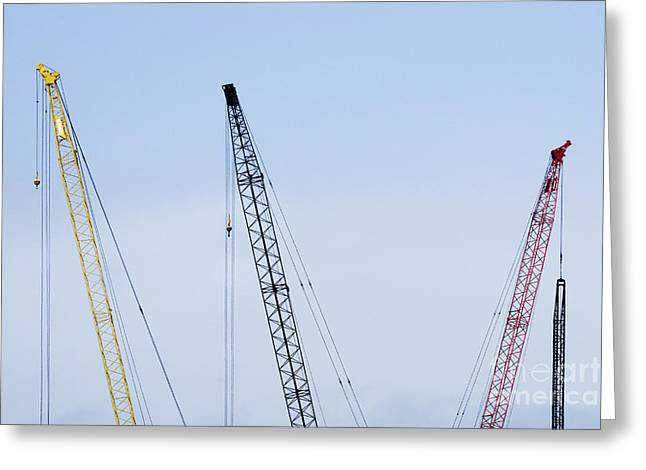 Tower Crane Greeting Cards - Colorful Tower Cranes Greeting Card by Jeremy Woodhouse