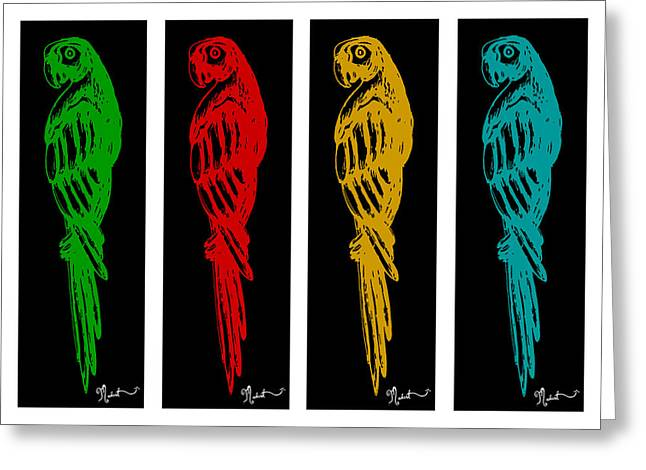 Pen And Paper Digital Art Greeting Cards - Colorful Tropical Parrot Abstract Parrot Ink Sketch Digital and Original Art by MADART Greeting Card by Megan Duncanson