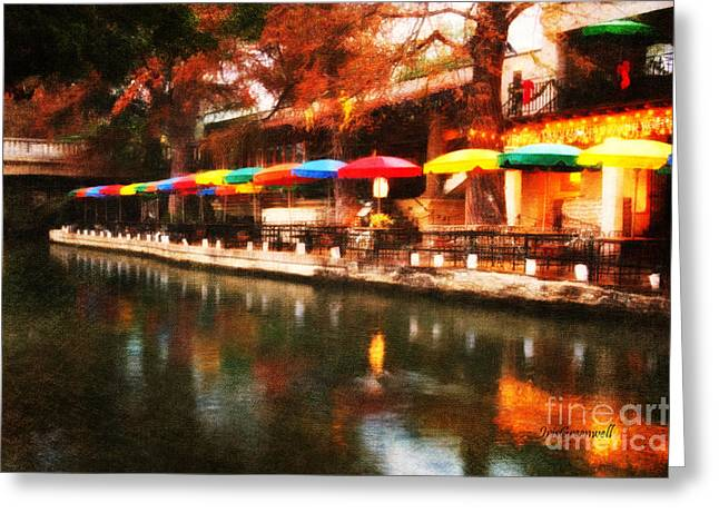 River Walk Greeting Cards - Colorful Umbrellas Greeting Card by Iris Greenwell